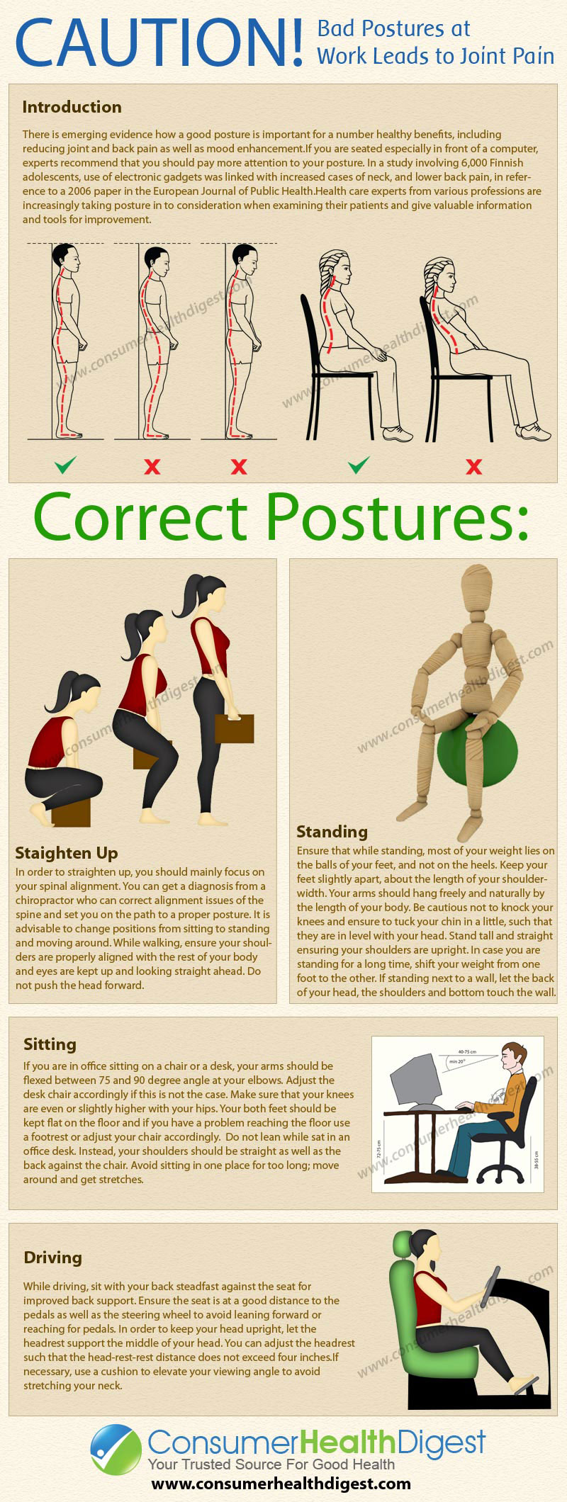 Bad Postures at Work Leads to Joint Pain