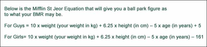 Mifflin St Jeor Equation