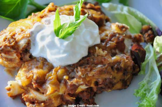 serving of creamy burrito casserole