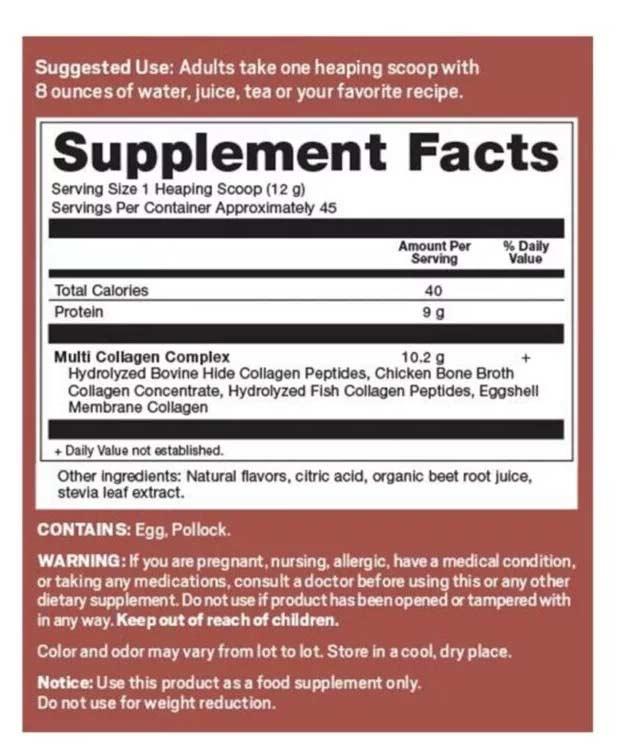 Collagen Refresh Lemonade supplement facts
