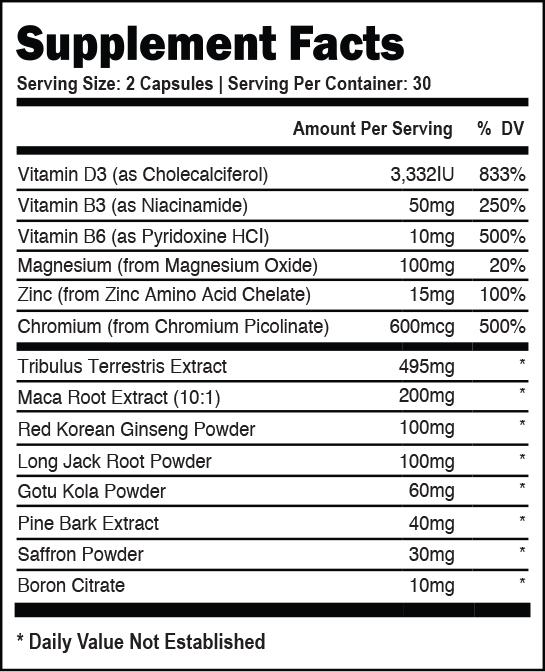 vasostam supplement facts